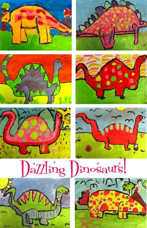 Dinosaur drawing and painting project #deepspacesparkle