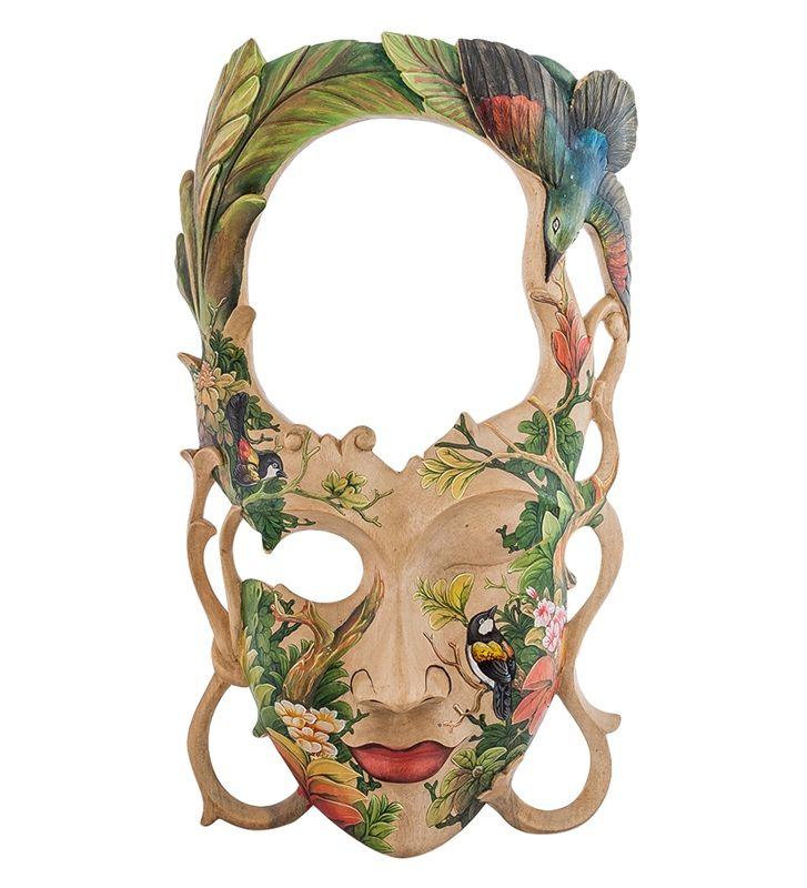 """Зеркало-маска расписная """"Тропический остров"""" 44-004 A Страна производства: Индонезия; Длина: 27 см; Ширина: 11 см; Высота: 50 см; Вес: 1,1 кг; #Indonesia #wood #роспись #дерево #Индонезия #art #painting"""