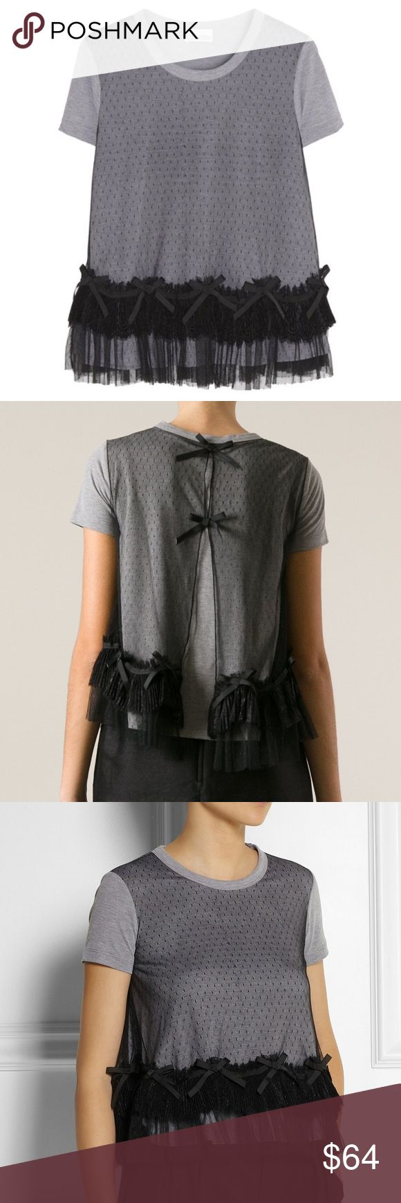 "Red Valentino gray black lace bow jersey shirt S Stunning women's Red Valentino Spa Gray t shirt with Black Swiss Dot lace/ bow details, size small. Excellent used condition!!! Pit to pit-17"" length- 22"" RED Valentino Tops Blouses"