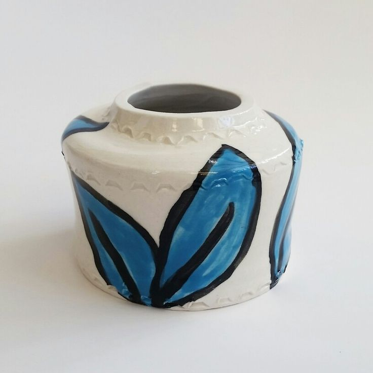 Ceramic Vessel with Melted Blue Glass on the Inside https://www.etsy.com/nz/shop/KatieJenssenCeramics