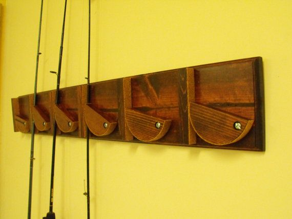 Fishing Pole Holder  wall mounted by septemberroseds on Etsy