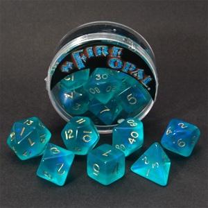 Fire Opal Dice Set - Aqua with Sapphire