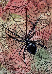 Zentangle Spider Black Widow ACEO ART Halloween Flowers Fall Watercolors Goeben