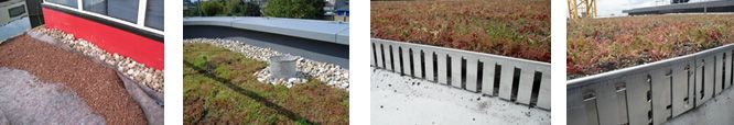 Parapets and upstands need to be kept clear of vegetation and this can be done with rounded riverstone pebbles, paving slabs or simply left clear. Where there is an exposed edge with no parapet, a perforated aluminium angle can be used to provide an edge to the green roof itself. Extensive Green Roof Systems