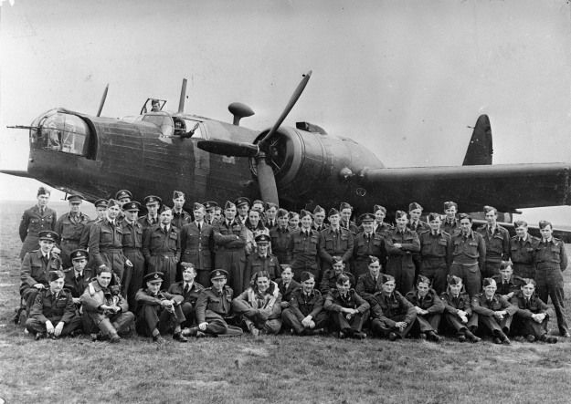 Group portrait of the 75th New Zealand Bomber Squadron, Royal Air Force, alongside a Vickers bomber aeroplane, England Date: 20 Jun 1942 Credit: National Library of New Zealand. Ref: 1/2-123840-G http://natlib.govt.nz/records/22753875 Description: 75th New Zealand Bomber Squadron, Royal Air Force, alongside a Vickers bomber aeroplane, 30 June, 1942, in England. Photographer unidentified. Evening Post (Wellington, NZ).