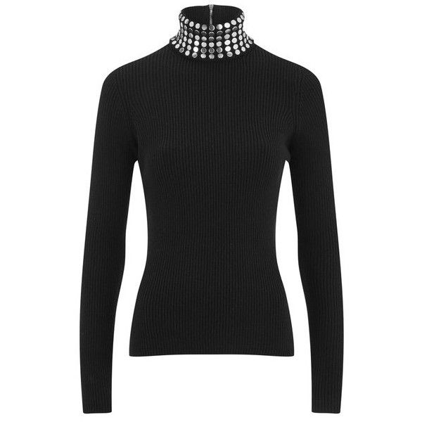 Alexander Wang Women's Studded Turtleneck Jumper with Back Zip -... ($980) ❤ liked on Polyvore featuring tops, sweaters, black, crew-neck sweaters, zip sweater, black ribbed turtleneck, black crew neck sweater и crewneck sweater