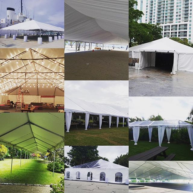 """""""It's that time again that all of Miami looks forward to: rainy season. Don't let Miami's weather slow you down, give us a call today about one of our many tent options. Whether you need a small frame tent, a structure tent, or just something with A/C, we have you covered!  #tents #eventprofs #rainraingoaway #miami #eventrentals"""" by @christinaspartyrentals (christinaspartyrentals). • • What do you think about this one? @latremoreproductions @lbconventionctr @ldjprodnyc…"""