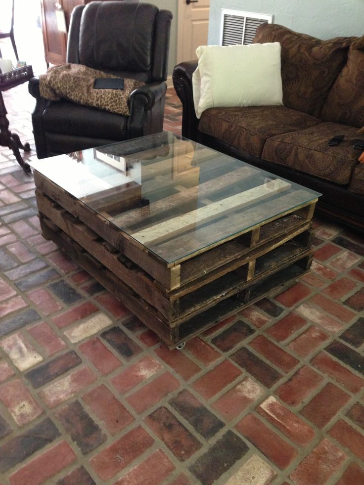 Homemade Coffee Table Made Out Of Pallets Aside From The Custom Glass Totally Home Built