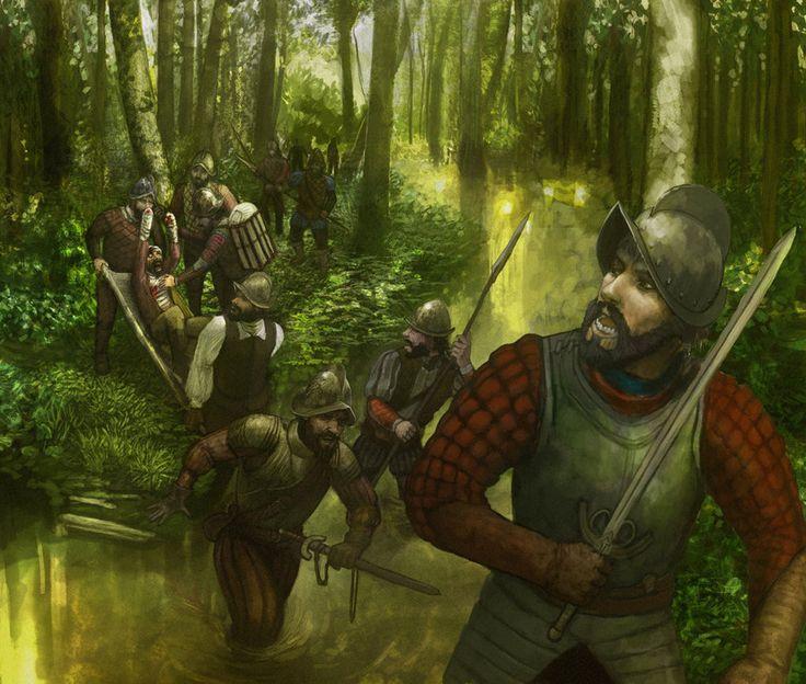 Conquistadores in swamp