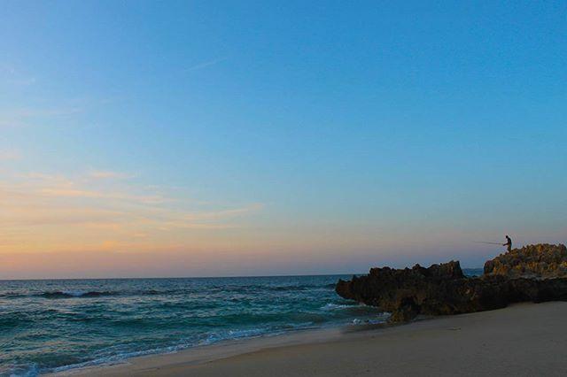 Lone angler sunset at Trigg Beach, Perth.