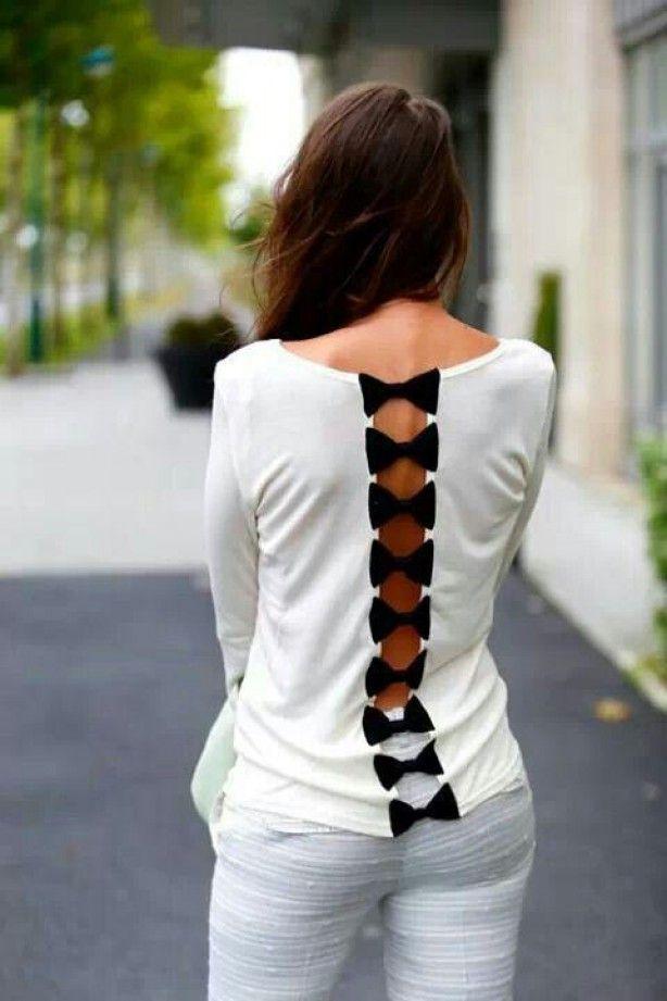 shirt met strik op rug bow on back lint of stof