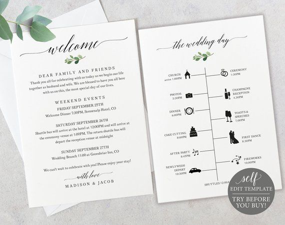 Timeline Welcome Card Template Try Before You Buy Greenery Etsy Wedding Itinerary Wedding Timeline Welcome Card