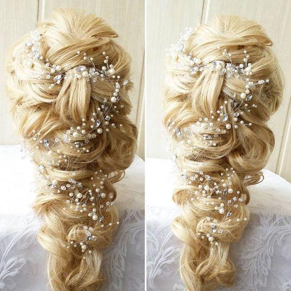 FREE SHIPPING!!Love Long hair vine,Bridal hair vine,Crystals Bridal Wedding, Bridal Hair Vine,Wedding hair-vine,pearl hair vine