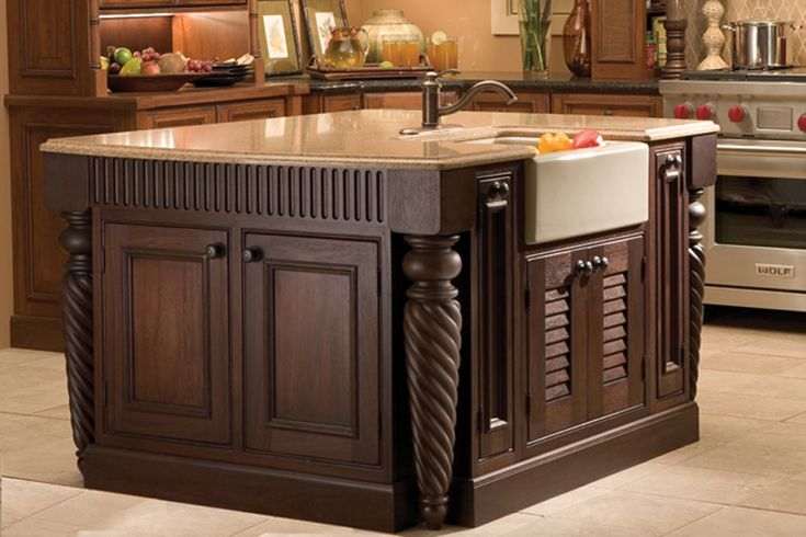 This Compact Kitchenisland Features Carved Posts And