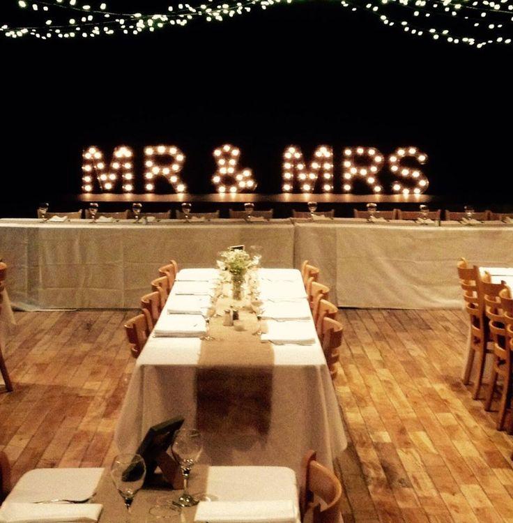 Illuminated Light Up Mr & Mrs lights - Cornerstone Theatre, Canmore Alberta
