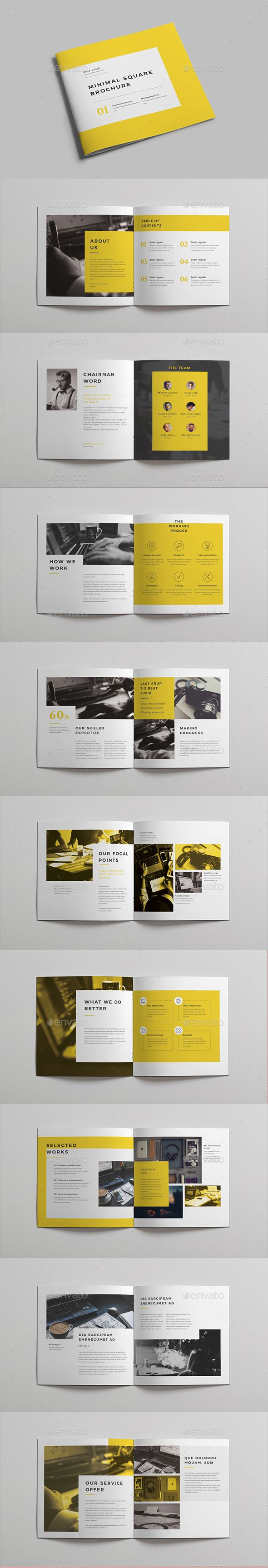 Minimal Square Brochure vol 2 — InDesign INDD #8x8 #creative • Download ➝ https://graphicriver.net/item/minimal-square-brochure-vol-2/19408752?ref=pxcr