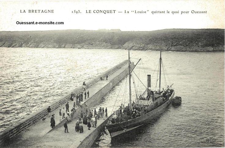 """Le vapeur la """"Louise"""" déborde du quai du Conquet avant de mettre le cap sur Ouessant"""