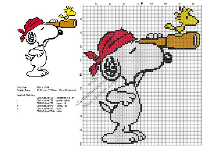 Snoopy pirata schema ricamo punto croce gratis 84x99
