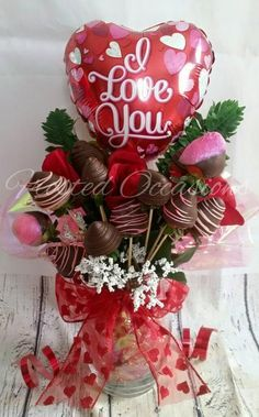 Roses And Chocolate Covered Strawberries Bouquet