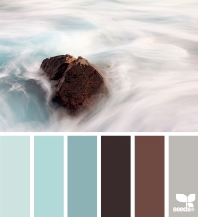 Love the colour tones from the seafoam blue/green to the warm grey-brown tones....