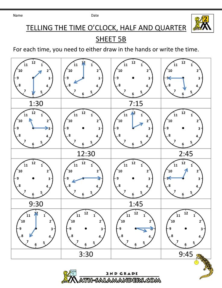 time worksheet telling the time oclock half quarter 5b