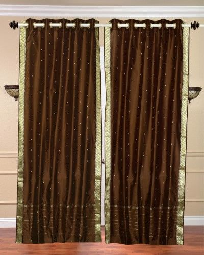 Lined-Brown Ring Top Sheer Sari Curtain / Drape / Panel - 43W x 96L - Piece, Brown