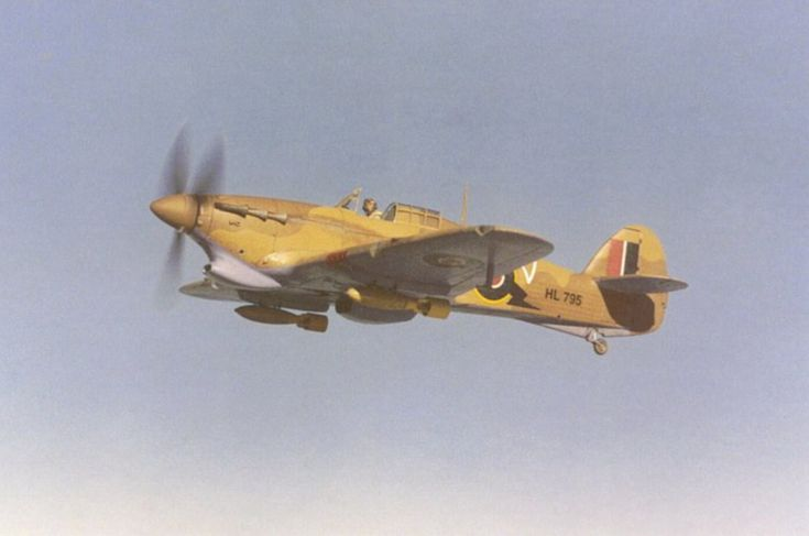 Hurricane Mk IIb Tropic. Note the enlarged air filter beneath the nose to combat sand ingress.
