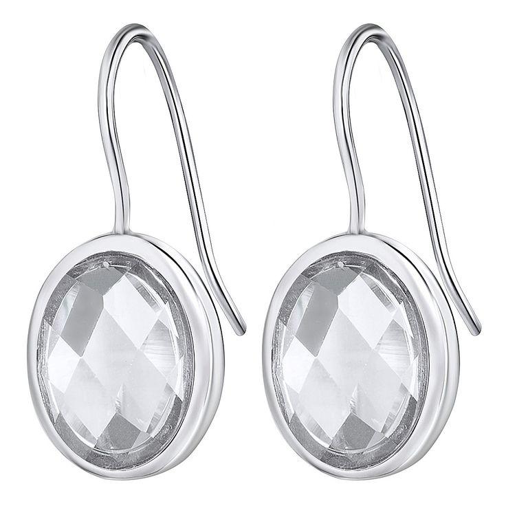 Cercei Nahla Jewels argint cu zirconia albă ovală