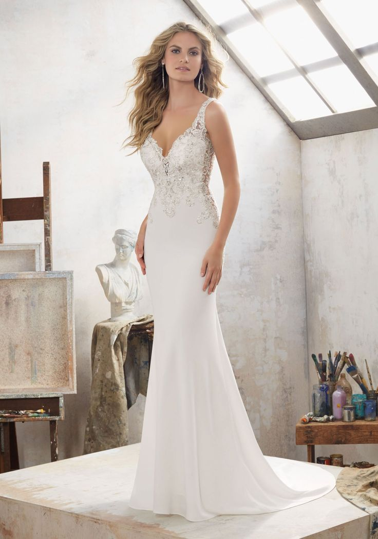 View Dress - Mori Lee Bridal SPRING 2017 Collection: 8113 - Mallory - Crystal Beaded Embroidered Appliqués on Crepe | MoriLee Bridal