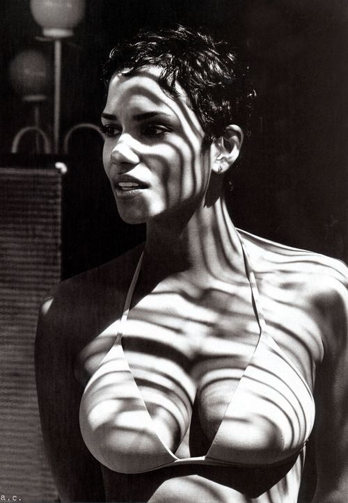 Halle berry actress portrait black and white stribes shadows curves