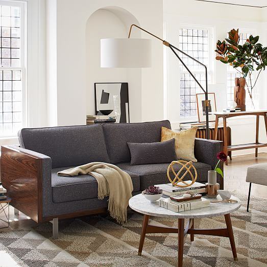 Mid-Century Overarching Floor Lamp | west elm -- Is this couch for sale on West Elm??