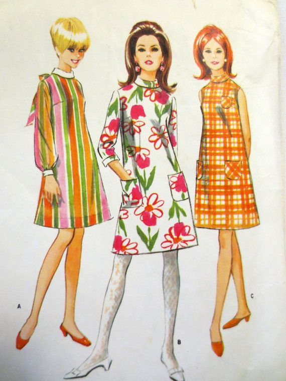 Vintage McCalls Sewing Pattern 8645 (1966) Misses Dress in Three Versions - Size 12, Bust 32