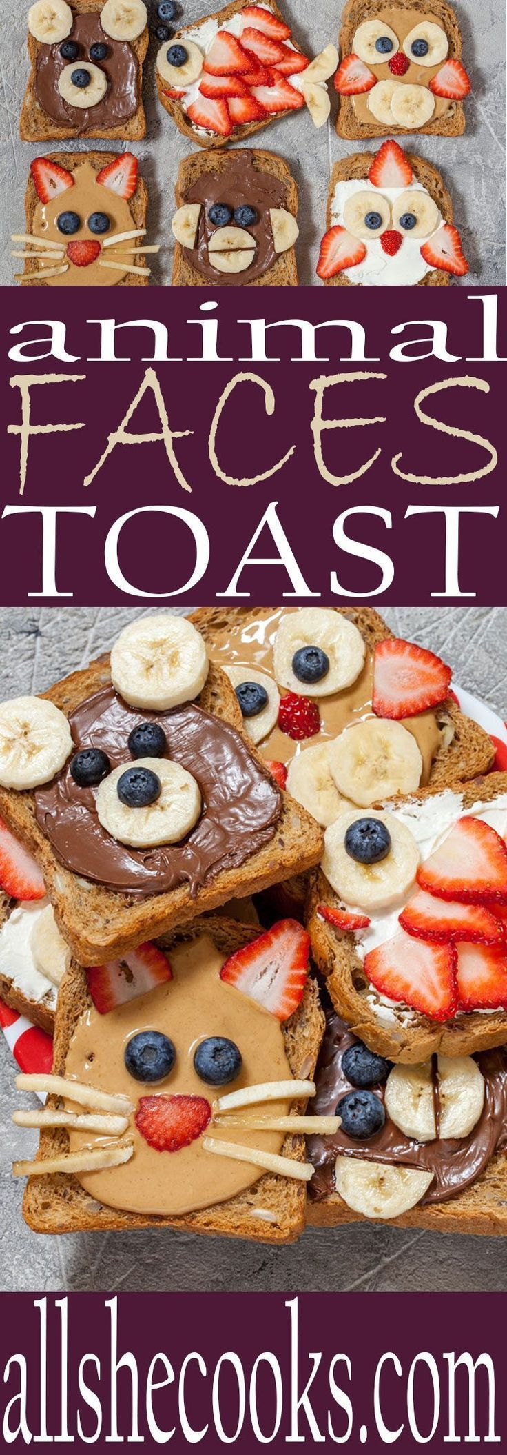 Healthy breakfast ideas for kids | Making food fun for kids is easy with these animal faces toast ideas.