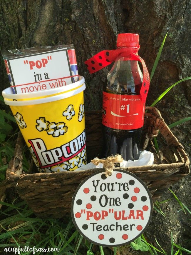 Teacher Appreciation Free Printable Gift Incude a bottle of their favorite soda, lemonade or tea. Popcorn bowls or cups. A bag of microwave popcorn and free Redbox movie ticket codes you can purchase from the Redbox website.