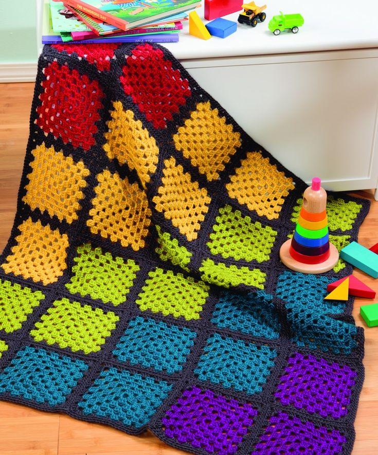 Rainbow Granny Square Afghan Knitting Crochet