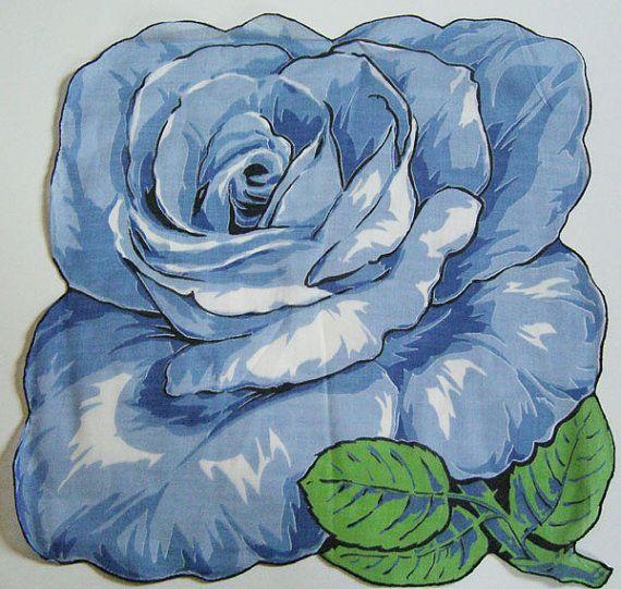 Vintage Very Large Blue Floral Flower Hankie