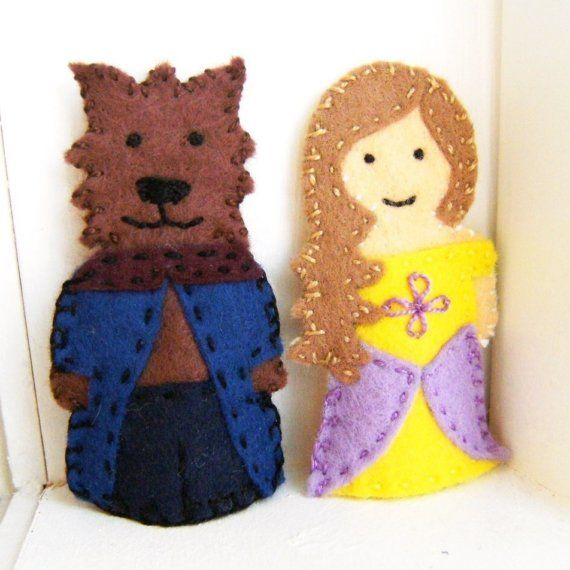 Beauty and the Beast Finger Puppets-Christmas project next year, storybook finger puppets. :D