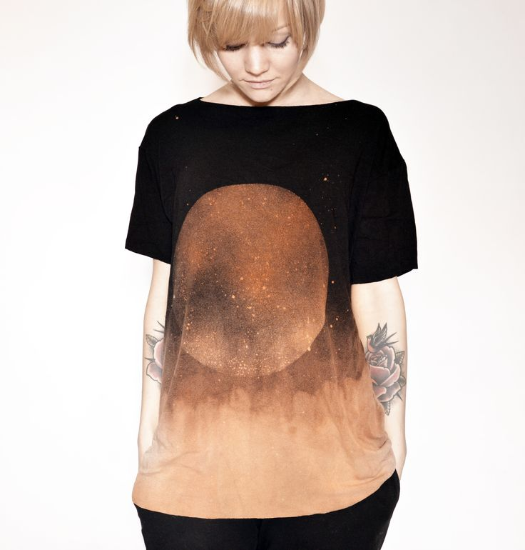 hand dyed unique unisex t-shirt from black series moon ombre