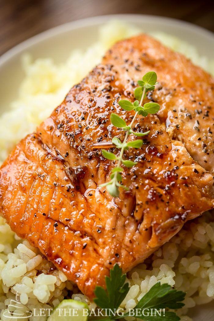 Garlic Ginger Glazed Salmon by letlthebakingbegin #Salmon #Garlic #Ginger #Easy #Healthy