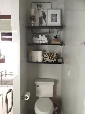 Like the idea of wall to wall floating shelves above the toilet   – Nesting – #F…   – most beautiful shelves