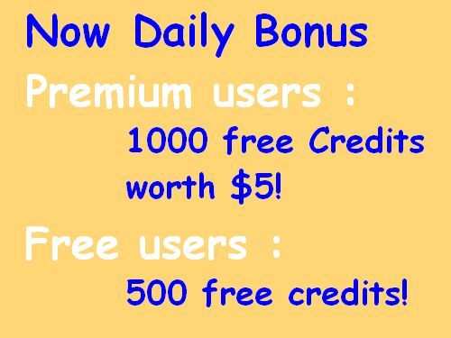 www.FollowersLikeHits.Com Now offers New Improved Daily Bonus  for Premium users :  1000 free Credits worth $5!  for Regular (Free) users : 500 free credits!
