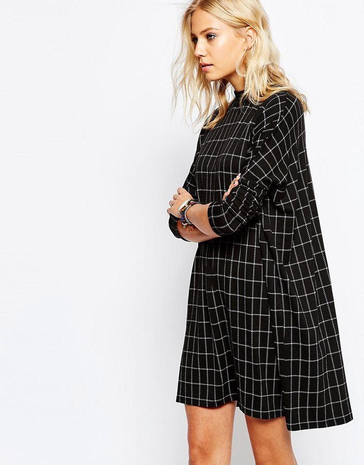 Купить Клетчатое платье с длинными рукавами Just Female Nora - Серая клетка за…