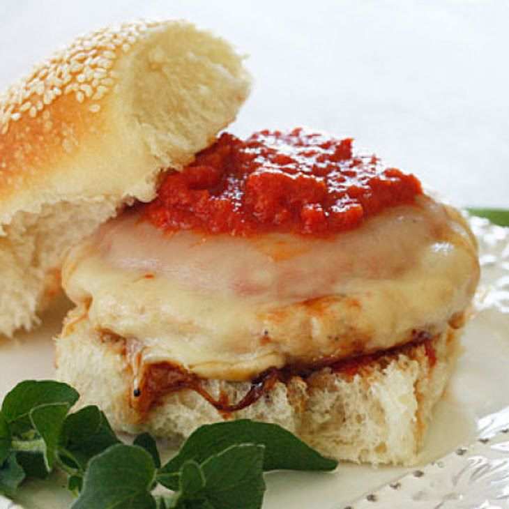 Chicken Parmigiana Burgers Recipe (The recipe is pretty basic, but I think making homemade burgers instead of using premade would be a lot healthier and cheaper. Gonna try this soon!)