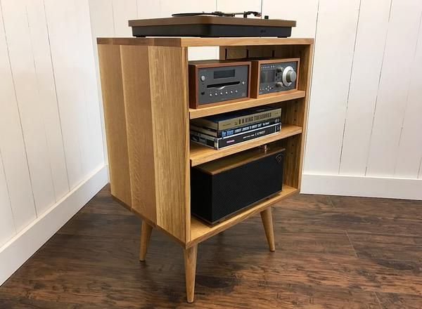 Quartersawn White Oak Vertical Turntable And Stereo Console With Album Storage Album Storage Stereo Console Audio Cabinet