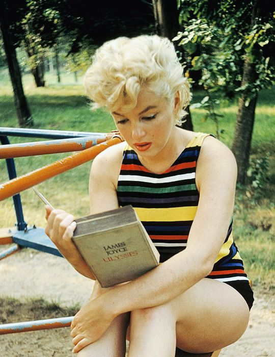 "beauvelvet: "" ""Marilyn Monroe reading Ulysses by James Joyce. Photographed in…"