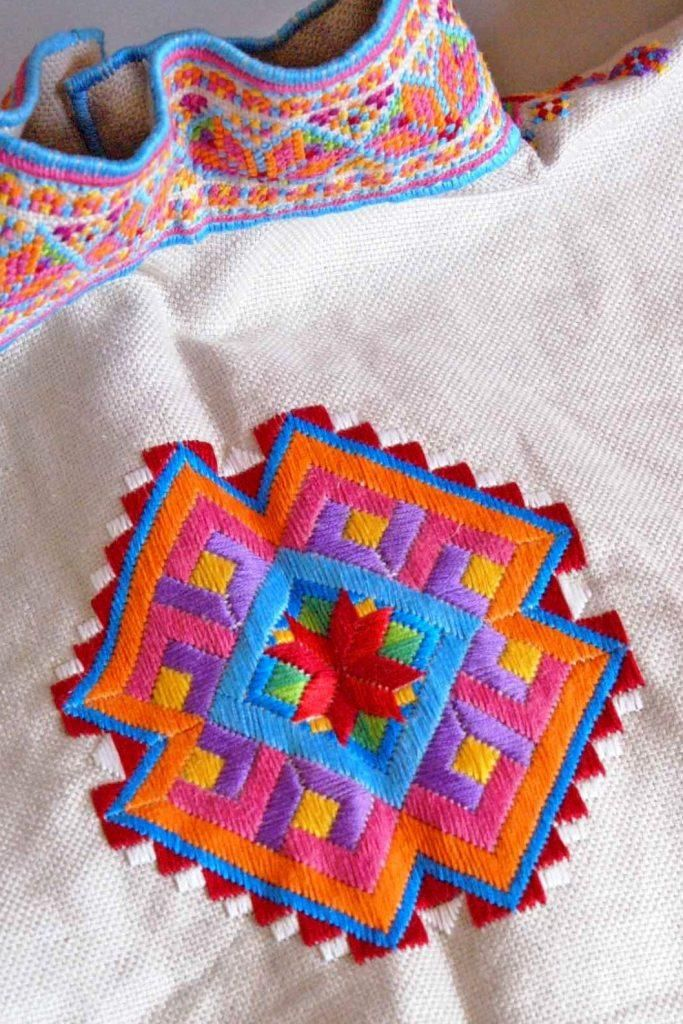 Back detail of a Ukrainian 'sorochka', or shirt, that I designed and embroidered in a style with motifs and patterns inspired by the traditional shirts and blouses from Serafyntsi village of Horodenka region in Carpathian Western Ukraine (Designed, embroidered, and assembled by Dave Melnychuk)