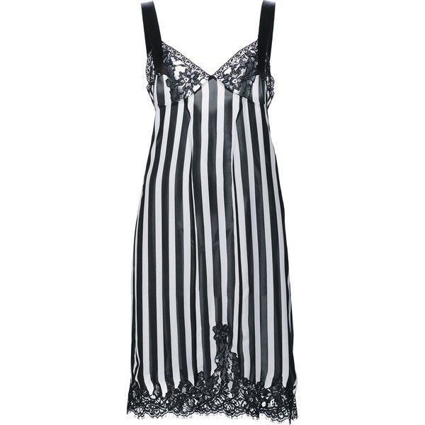 Givenchy Lace Panel Striped Cocktail Dress ($2,200) ❤ liked on Polyvore featuring dresses, knee length dresses, empire waist dresses, lace cocktail dress, striped dress and black and white dresses