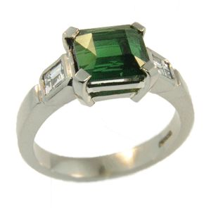 18ct White Gold Green Tourmaline & Carre Cut Diamond Ring, handmade by Sam Drummond at Cameron Jewellery