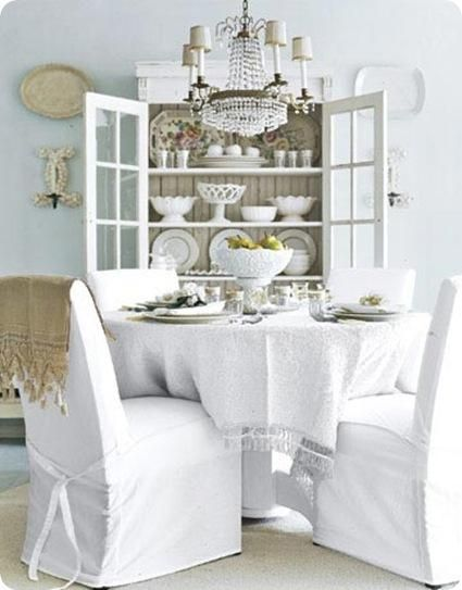 White Dining Room Chair Slipcovers Table Cloth China Hutch And Accessories To Top It Off