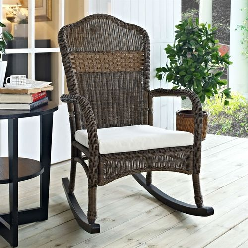 Indoor/Outdoor Patio Porch Mocha Wicker Rocking Chair, Beige Cushion